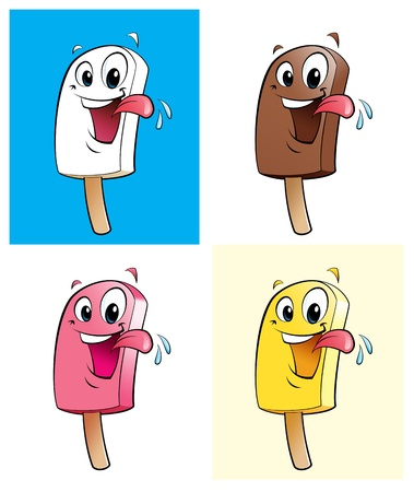 tasteful: Ice creams in 4 colors  flavors Stock Photo
