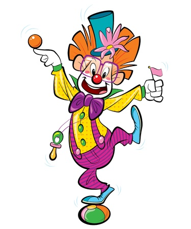 A happy clown standing on a ball and doing funny acrobatics photo