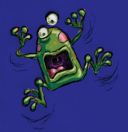 A funny fraked out frog shouting Stock Photo