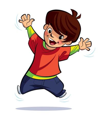 興奮した男の子はその手を振って、ジャンプします。