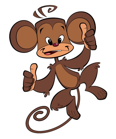 all right: A cartoon brown happy monkey with both thumbs up Stock Photo
