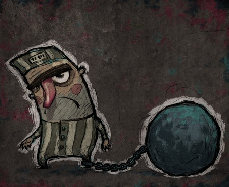 imprisonment: Sad prisoner with a huge chain ball in his leg