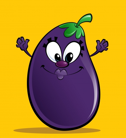 Cartoon happy purple eggplant gesturing happily spreading its hands in a yellow background