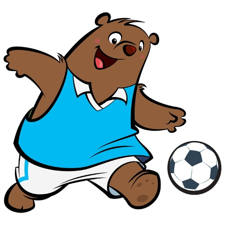 Cartoon bear with athletic suit kicking playing football