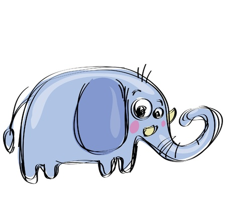 Cartoon baby elephant in a naif childish drawing style with big ears Vettoriali