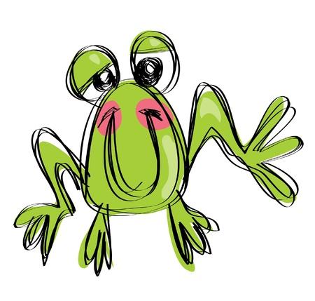 naif: Cartoon funny  baby frog in a naif childish drawing style posing and smiling