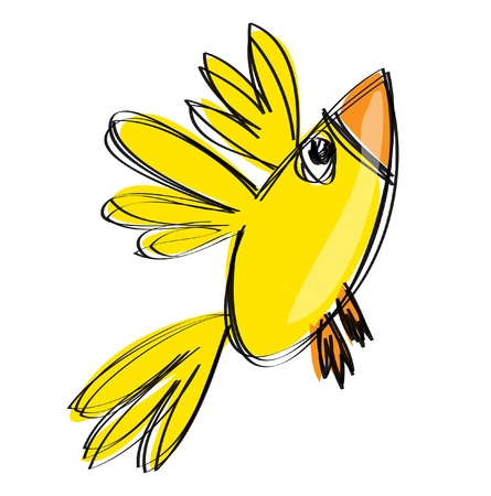 Cartoon baby yellow flying bird in a naif childish drawing style