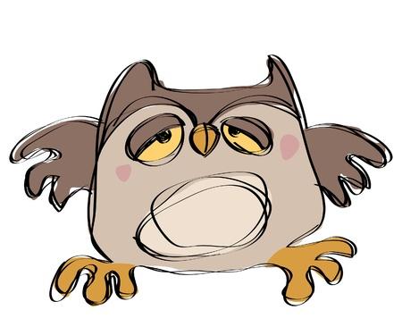 naif: Cartoon brown baby owl in a naif childish drawing style looking sleepy
