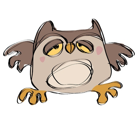 Cartoon brown baby owl in a naif childish drawing style looking sleepy