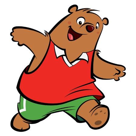 cartoon b�r: Cartoon B�r mit sportlichen Anzug spielt und l�uft tragen Sportkleidung