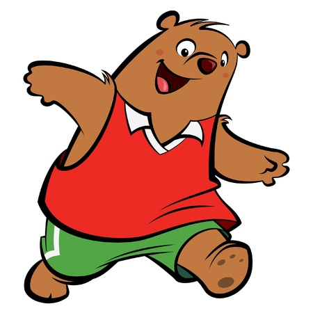 Cartoon bear with athletic suit playing and running wearing sport clothes Vector