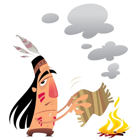 Cartoon indian man sending a message by smoke signals moving a small carpet over a fire