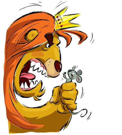 Cartoon king lion with crown holding a tiny mouse in its fist frightening it