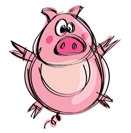 Cartoon funny naif baby pig in a naif childish drawing style spreading hands and feet Vettoriali