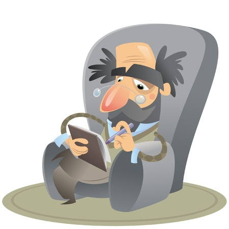 Cartoon psicólogo reflexivo sentado en un sillón tomando notas