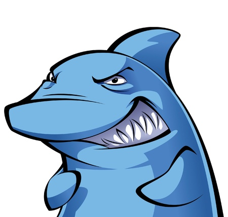 jaw: Devious cartoon blue shark smiling showing its big teeth Illustration