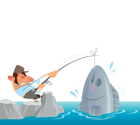 fisher man: A fisher man fighting to get out of the sea a big fish