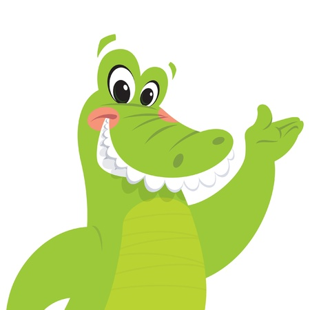 Happy green crocodile is smiling while presenting making a presentation gesture Illustration