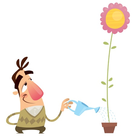 impatient: Happy cartoon man gardener watering a pink flower that growing fast with a water can