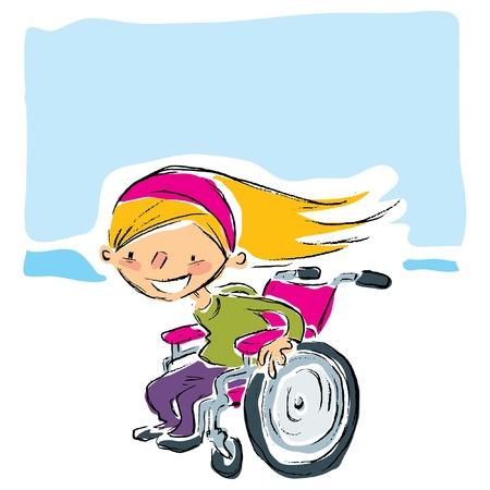 Happy cartoon lachende blonde meisje in een handleiding magenta rolstoel bewegen snel