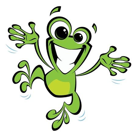sapo: Rana sonriente verde feliz de la historieta que salta emocionado y abriendo los brazos y las piernas