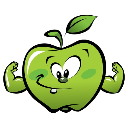 Happy cartoon strong and smiling green apple making a power gesture 일러스트