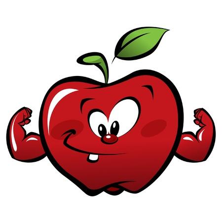 manzana caricatura: Feliz de la historieta fuerte y sonriendo manzana roja haciendo un gesto de potencia