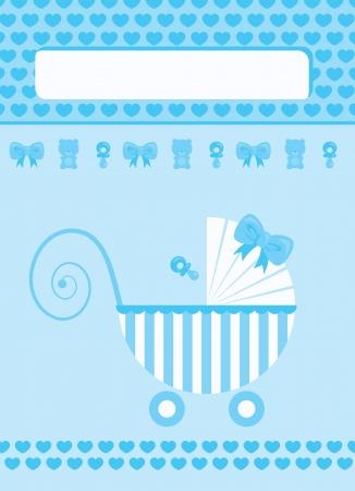 New born baby boy blue greeting card Vector