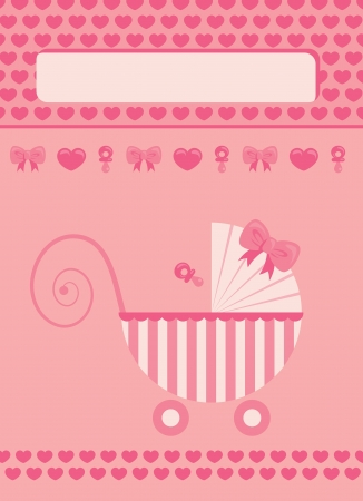 New born baby girl pink greeting card Vector