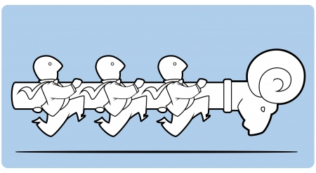 devastating: Icon of white graphic business men attacking carrying a battering ram Illustration