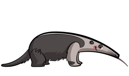 Cartoon anteater animal eating sticking out its tongue Vector