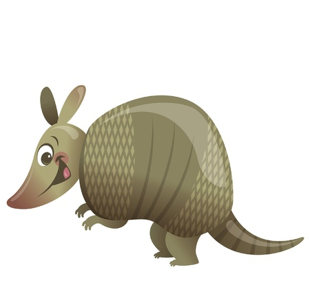 caricaturas de animales: Cartoon armadillo animales sonriendo