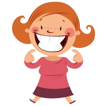 Mulher feliz, sorrindo e fazendo um gesto, apontando o sorriso e os dentes Foto de archivo - 20560957