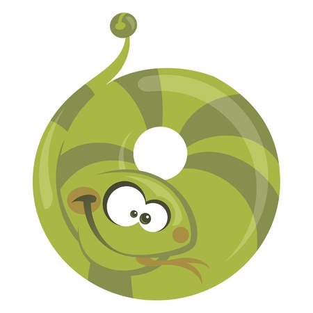 Number 0 cartoon funny snake making a circle with its body Vector