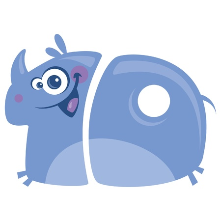 numero diez: N�mero 10 divertidos dibujos animados feliz rinoceronte p�rpura sonriente con grandes cuernos corriendo