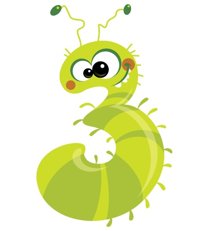 cartoon larva: Number 3 happy smiling caterpillar