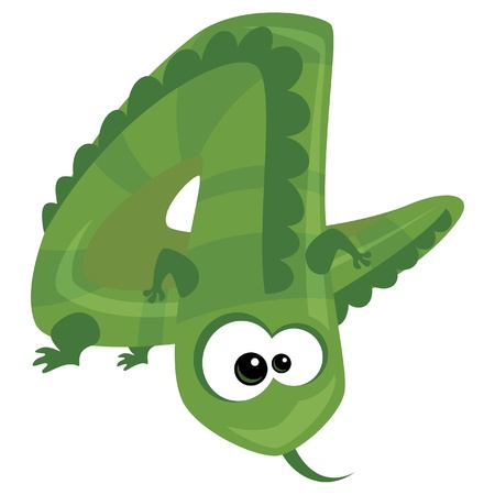 number four: Number 4 cartoon funny green lizard Illustration
