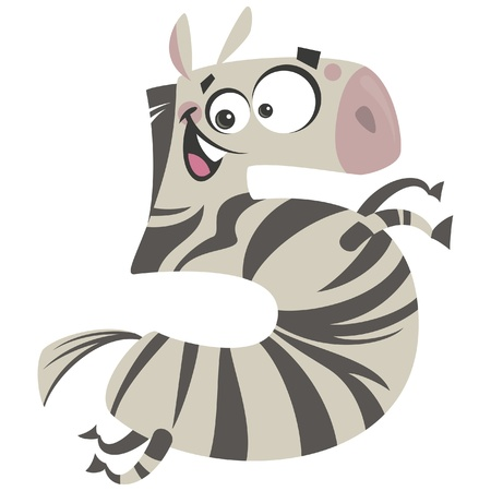 arithmetical: Number 5 excited cartoon zebra running