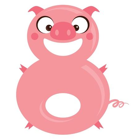 arithmetical: Number 8 funny cartoon smiling pink pig Illustration