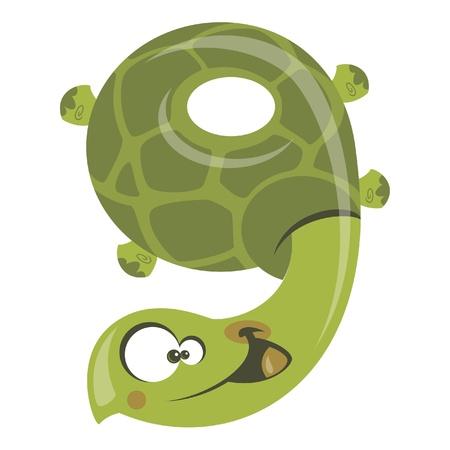 numero nueve: Número 9 historieta divertida sonrisa tortuga verde Vectores