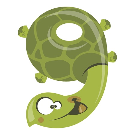 Number 9 funny cartoon smiling green turtle Illustration