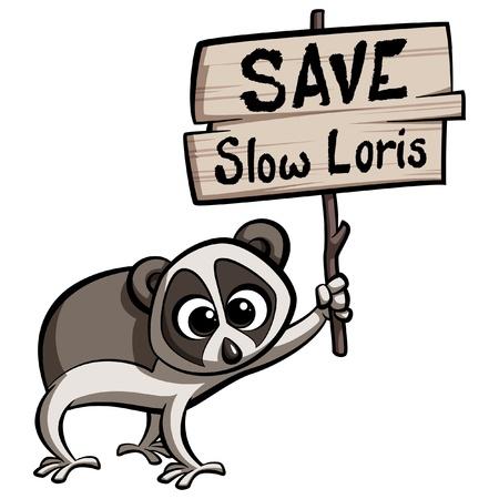 Save Slow Loris cartoon animal protesting holding a placard Ilustração