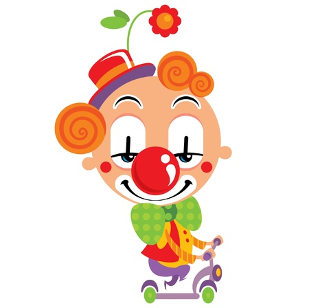 running nose: Smiley face clown party performance with a scooter and funny clothes Illustration