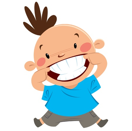 ortodoncia: Feliz niño sonriente apuntando con su gran sonrisa y dientes blancos y limpios