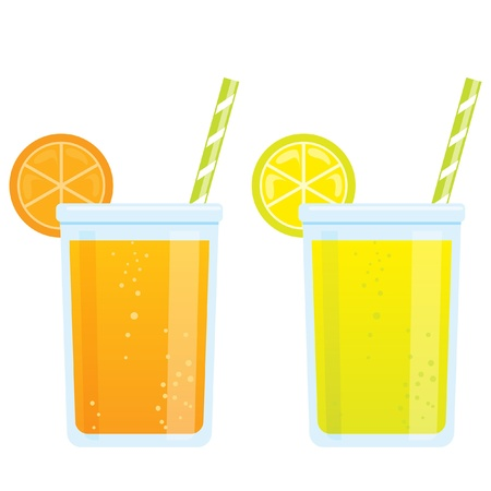 Cooling cartoon tonic beverages cold refreshing drinks of orange and lemon soda juice Vector