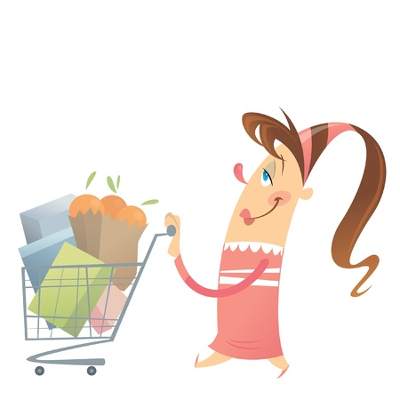super market: Happy woman in pink dress is shopping satisfied in a super market with her full cart