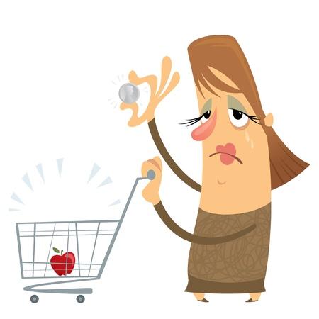 mujer llorando: Pobre mujer triste y sin dinero con un carro vacío, sólo una manzana init, sosteniendo una sola moneda y llorando
