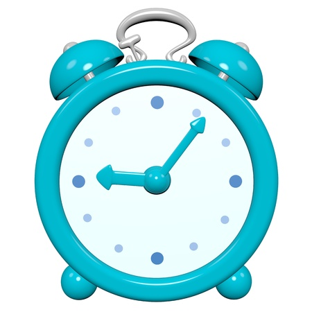 Cartoon 3D turquoise glossy clock , five past nine o'clock
