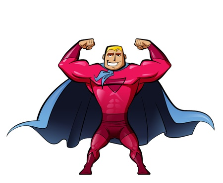Super strong hero in red suit and a powerful superheroes gesture photo