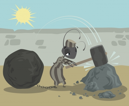punished: Ant in prison with chain metal ball work hard breaking stones as penalty Illustration